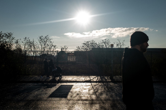 The sun sets on eastern Glasgow, where poverty has reached record levels.