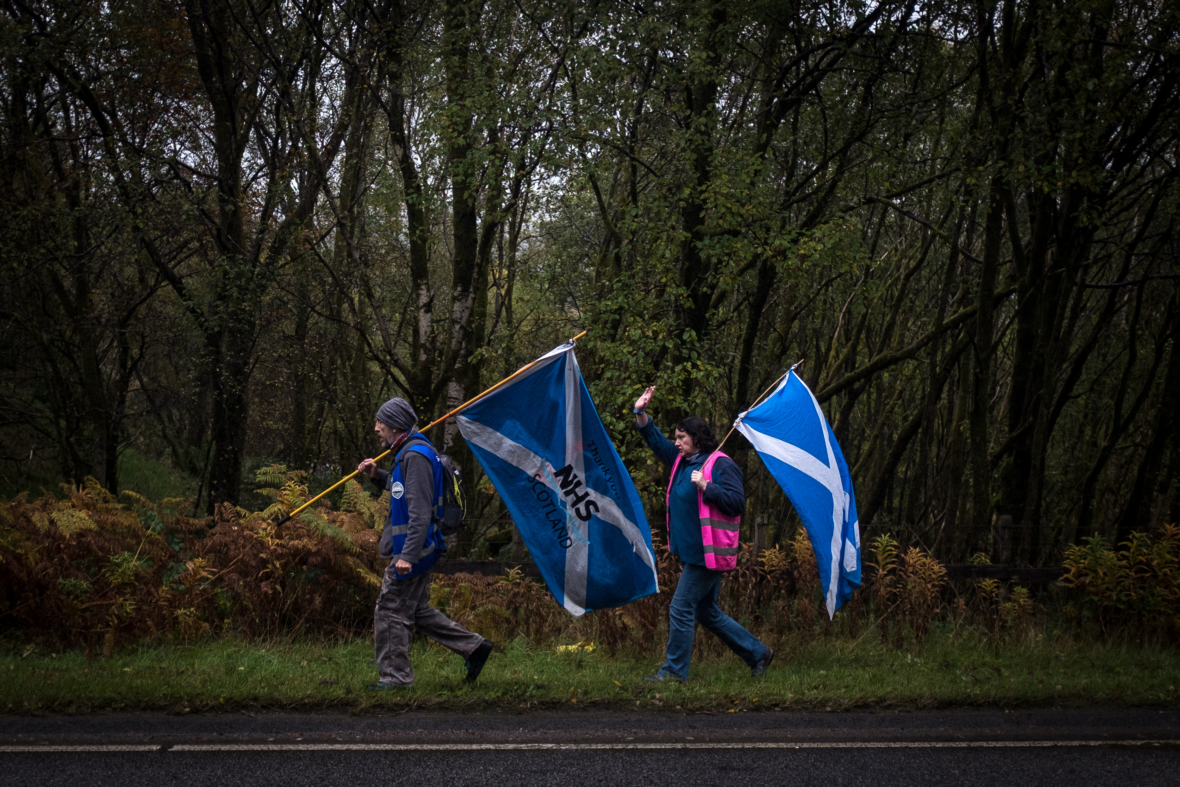 Two activists from The Long Walk for Freedom walk across Scotland to promote independence.
