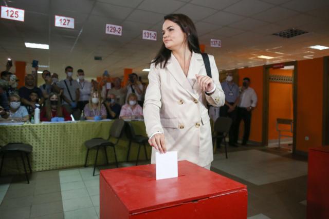 Swjatlana Zichanouskaja, Präsidentschaftskandidatin, während der Abstimmung. Minsk, 08.09.2020.