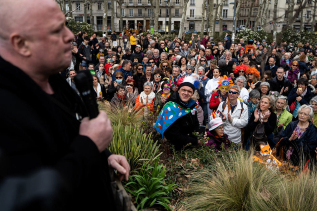 """Carlo Alberto Brusa, considered an """"anti-vaccine star"""", delivers a speech at the Libert Air rally against mask-wearing and pandemic restrictions. Lyon, France, 13 March 2021 (Nicolas Liponne)"""