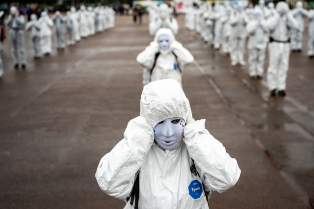 White Mask rally against mask-wearing and pandemic restrictions. Lyon, France, 15 May 2021 (Nicolas Liponne)