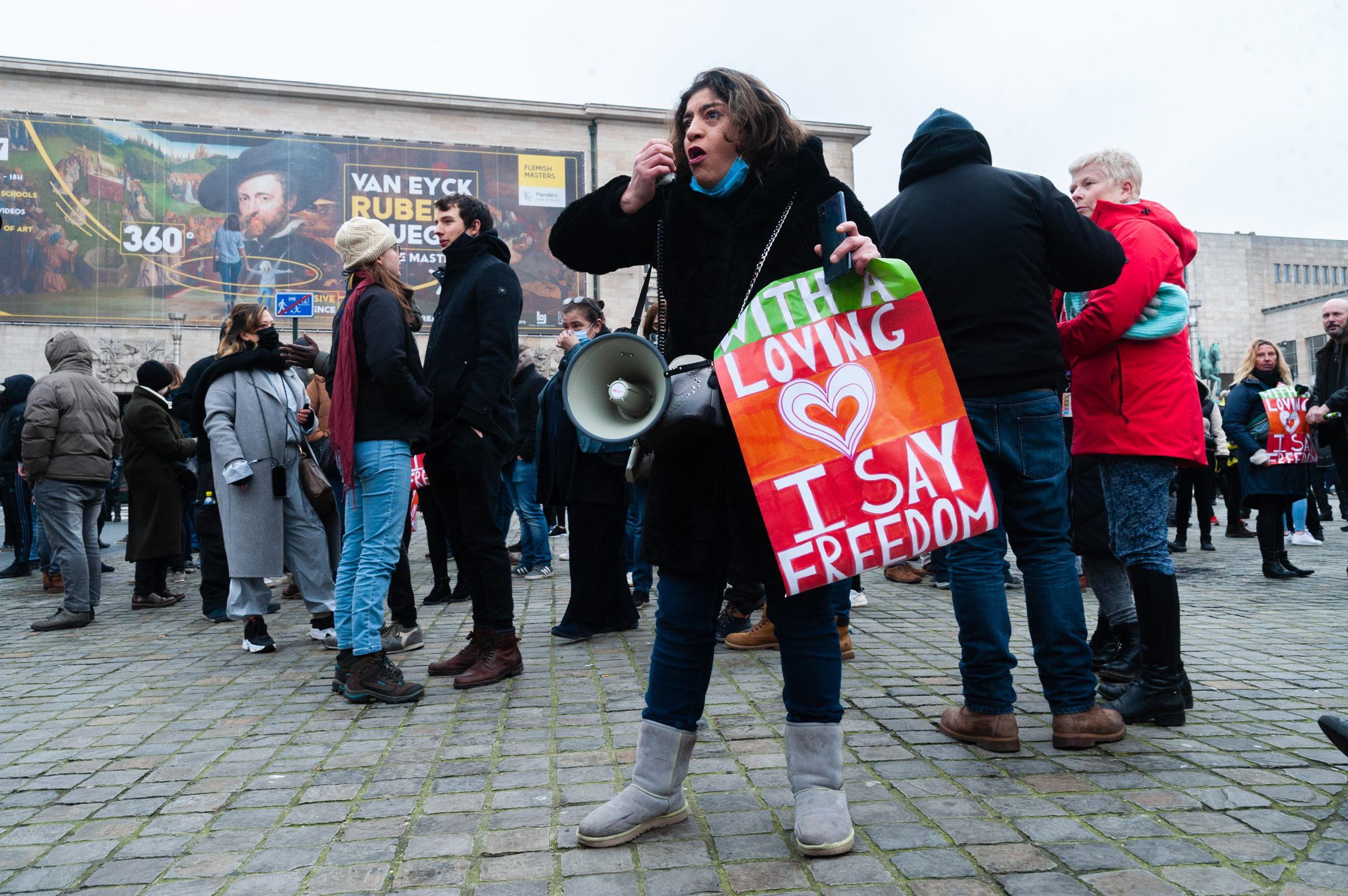 Rally against anti-Covid measures. A few hundred demonstrators gathered in the Belgian capital today to protest against measures taken in the fight against the coronavirus. 31 January 2021, Brussels (Nicolas Landemard)