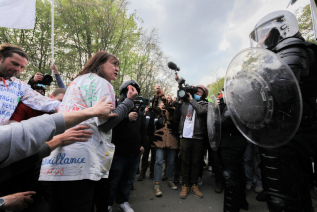 Second edition of the event La Boum in the Bois de la Cambre. An event that was originally festive, launched on social networks, and which turned into a mass gathering to demand the easing of lockdown measures.   01 May 2021, Brussels (Nicolas Landemard)